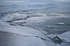 Lake på vintern Arkivbilder