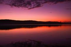 Lake på solnedgången Fotografering för Bildbyråer