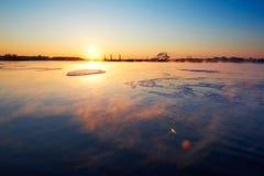 The lake and pack ice sunrise Stock Photo