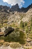 Lake at Paglia Orba in the mountains of Corsica. Small lake at Paglia Orba surrounded by rocks, pine trees and mountains near the GR20 hiking trail in central Royalty Free Stock Photo