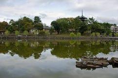 Lake and pagoda in Nara Royalty Free Stock Images