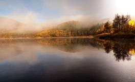 Lake Pancharevo. The lake in Pancharevo, autumn. Early in the morning royalty free stock photography
