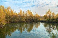 Lake Panino in Fall. Russia. Lake Panino (Krugloe) in the forest near Balashikha. Moscow Region, Russia Royalty Free Stock Images