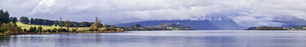 Lake panorama. Chilean Patagonian landscape panorama with lake and mountains on winter Stock Photo
