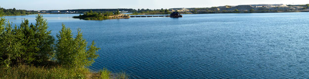 Lake panorama. In the countryside Royalty Free Stock Photos
