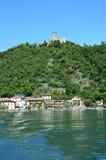 Lake panorama from ferry with island Monte Isola. Italian landscape. Island on lake. Lake Iseo, Italy Stock Images