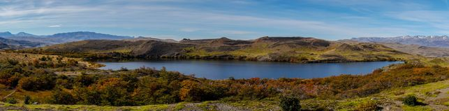Lake Panorama with grass in Torres del Paine / Patagonia / Chile. Stock Photography
