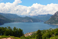Lake panorama from `Monte Isola`. Italian landscape. Island on lake. View from the island Monte Isola on Lake Iseo, Italy Stock Images