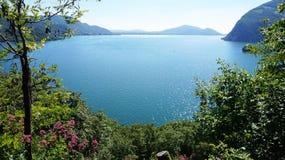 Lake panorama from `Monte Isola`. Italian landscape. Island on lake. View from the island Monte Isola on Lake Iseo, Italy Royalty Free Stock Photos