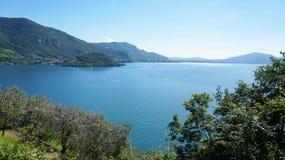 Lake panorama from `Monte Isola`. Italian landscape. Island on lake. View from the island Monte Isola on Lake Iseo, Italy Stock Photo