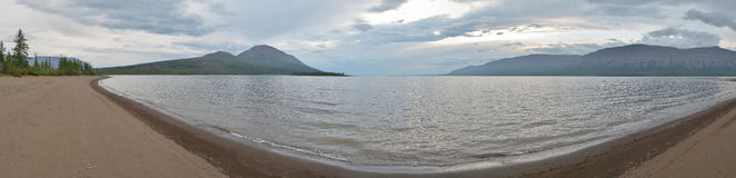 Lake panorama on the Putorana plateau. Royalty Free Stock Images