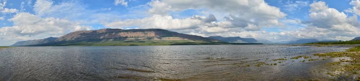 Lake panorama on the Putorana plateau. Stock Images