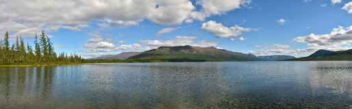 Lake panorama on the Putorana plateau. Royalty Free Stock Image