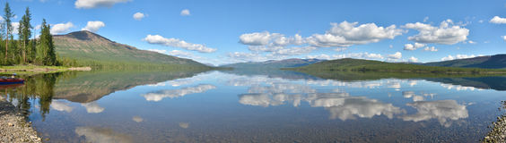 Lake panorama on the Putorana plateau. Royalty Free Stock Photo