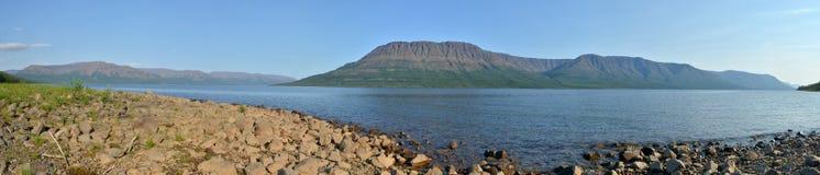 Lake panorama on the Putorana plateau. Stock Photo