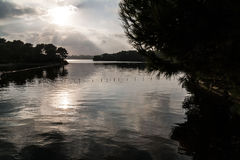 Lake Panorama. Sunset over the lake in southern Italy Stock Photography
