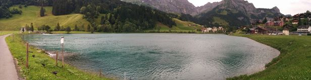 Lake panorama. In Switzerland on a summer royalty free stock image