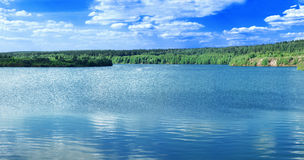 Lake panoramic. Lake in wood open-cast mine panoramic Royalty Free Stock Photo