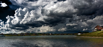 Lake panoramic. Panoramic landscape shot of a lake in michigan during a stormy day Royalty Free Stock Photography