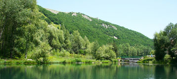 Lake in park stock photo