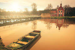 Lake in the park. Boat lake chapel in the autumn park Royalty Free Stock Photo