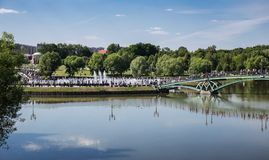Lake in the park with boats in museum-reserve Tsaritsyno. MOSCOW, RUSSIA - JUNE 16, 2018: Bridge to the Lake in the park in museum-reserve Tsaritsyno royalty free stock photos