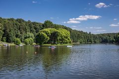 Lake in the park with boats in museum-reserve Tsaritsyno. MOSCOW, RUSSIA - JUNE 16, 2018: Lake in the park with boats in museum-reserve Tsaritsyno stock photo