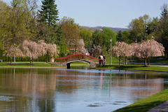 Lake Park Bridge in Spring Royalty Free Stock Photos