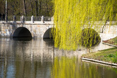 Bridge, with monument to King John III Sobieski. Łazienki Park. Warsaw. Lake with ducks near the bridge in the park of Chopin Warsaw Royalty Free Stock Image