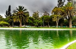 Lake in a park with dark clouds royalty free stock photo