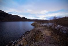 Way over the lake in the park Kilpisjarvi, Finland Royalty Free Stock Images