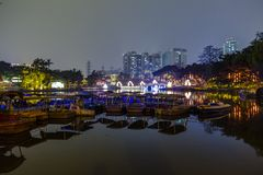 lake in the park at night in guangzhou Stock Photos