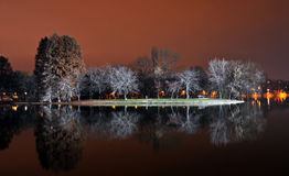 Lake park by night Royalty Free Stock Photography