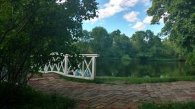 Lake in a Park in the Russian country estate. Lake in an old Russian manor Royalty Free Stock Photos