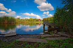 A lake in park and blue sky Stock Photo