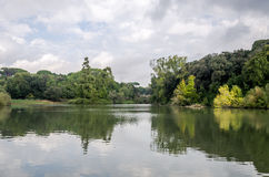 Lake in the park among the trees and bushes in cloudy weather at Vila Pampilii in Rome, capital of Italy Stock Image