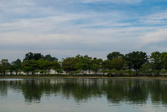 Lake in the park. View of lake in the park with blue sky background Royalty Free Stock Photos