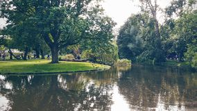 Lake in a park. Vondelpark in Amsterdam, Netherlands Stock Images