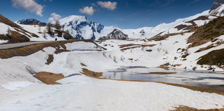 Lake on the pass Col De Vars, Alps, France Royalty Free Stock Photography