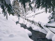 Mountain snowfall landskape. Lake passing by snowy landskape view Stock Photos