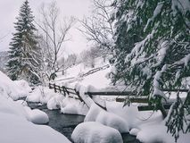 Mountain snowfall landskape. Lake passing by snowy landskape view Stock Photography