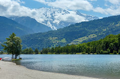 Lake Passy and Mont Blanc mountain massif summer view. Stock Photography