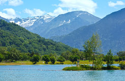 Lake Passy and Mont Blanc mountain massif summer view. Royalty Free Stock Photos
