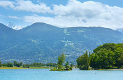 Lake Passy and Mont Blanc mountain massif summer view. Royalty Free Stock Photography