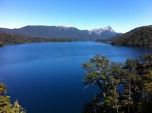 Lake in Patagonia Argentina. Route of the Seven Lakes: from Villa La Angostura to San Martin de los Andes. with forest and blue sky stock images