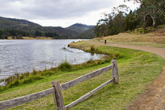Lake path. A path alongside the lake at Risdon Brook Dam in Tasmania Royalty Free Stock Images