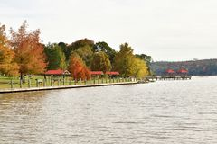 Lake pathway with fall foliage trees. In background royalty free stock photography