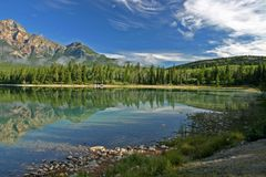 Lake Patricia in the morning. Lake Patricia in Jasper national park stock images