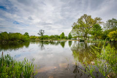 The lake at Patterson Park, in Baltimore, Maryland. stock photos