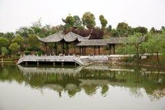 Lake with pavilion Stock Photos